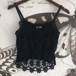 90s Vintage Daisy Crochet Crop Tank - XS